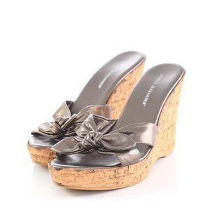 Athena Alexander Bronze Cork Wedge Sandals Slides